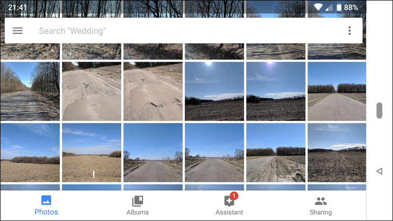 Google Photos images roll