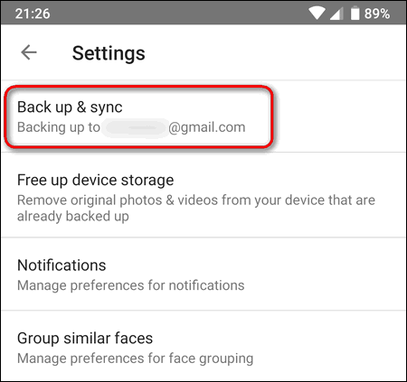 Google Photos settings Android back up and sync