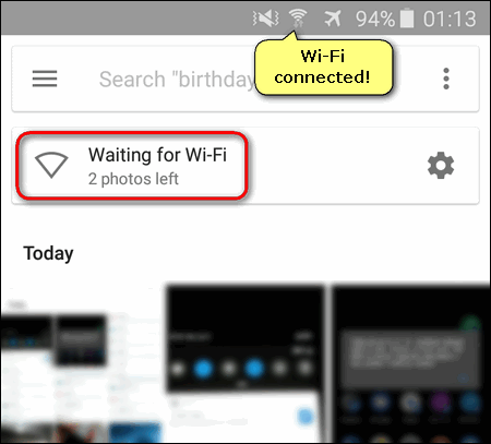 Google Photos waiting for Wi-Fi while Wi-Fi connected