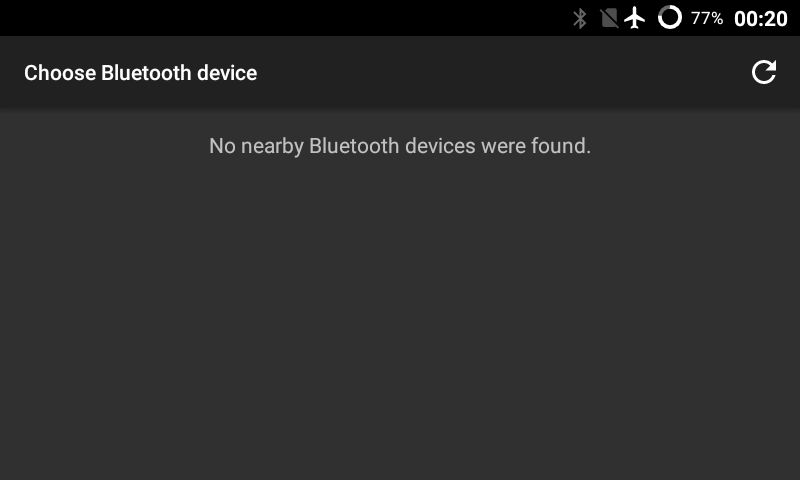 No nearby Bluetooth devices found