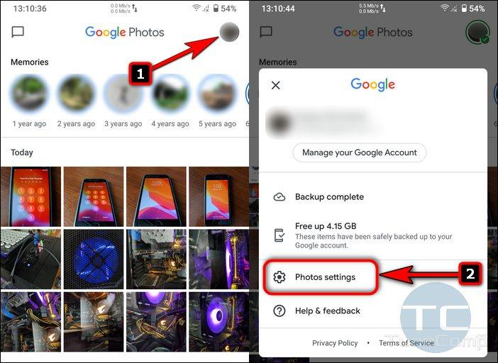 Open Settings in redesigned Google Photos