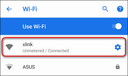 active Wi-Fi network properties Android 9