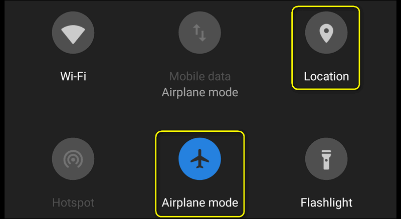 airplane mode location off