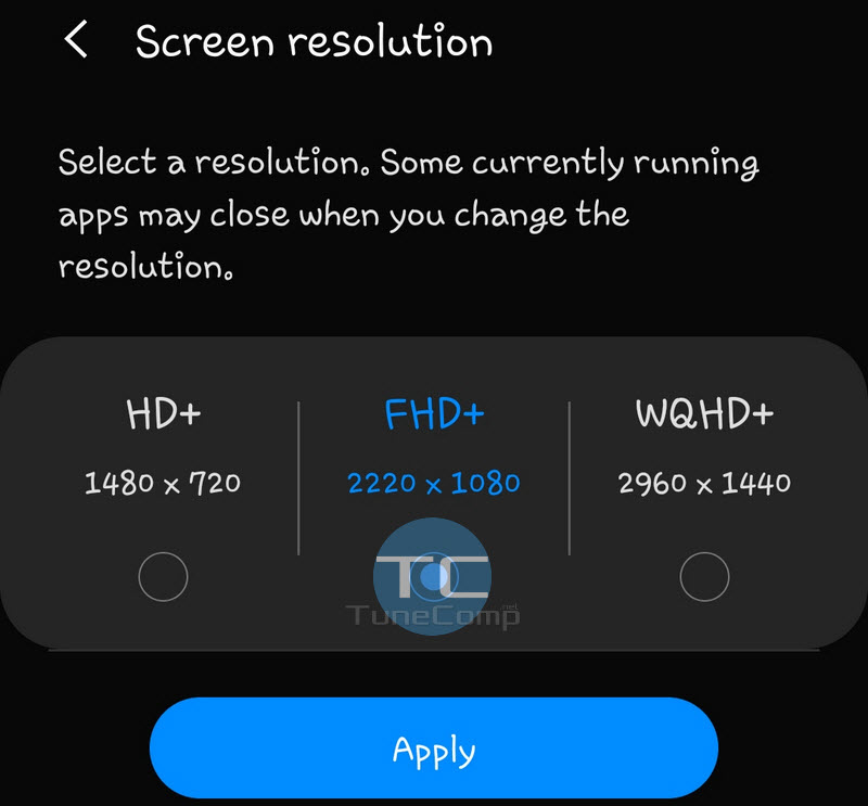 screen resolution galaxy S9 Android 9