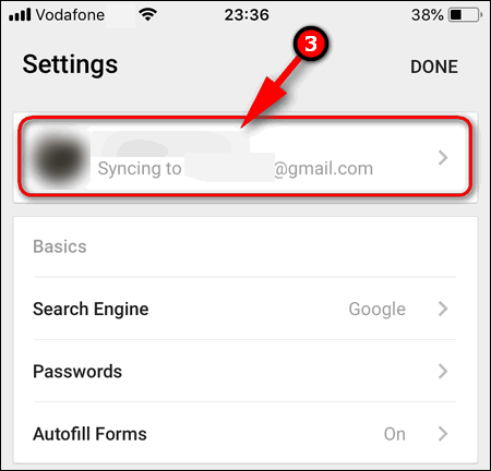 select account in Chrome iOS