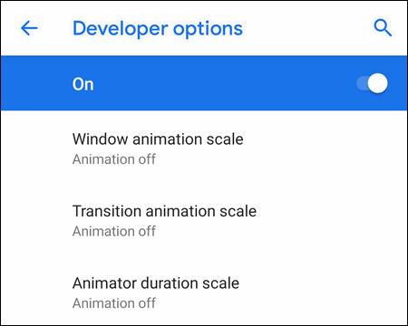 turn off animations on Android 9
