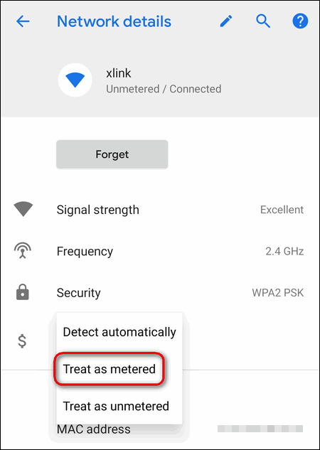 wi-fi network treat as metered Android 9