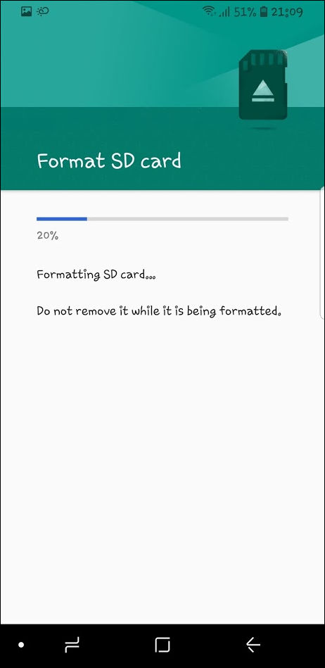 formatting SD card