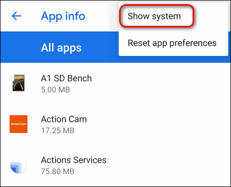 show system apps Android 9