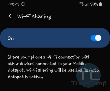 Turn on Wi-Fi Sharing Galaxy S20 One UI 2.0