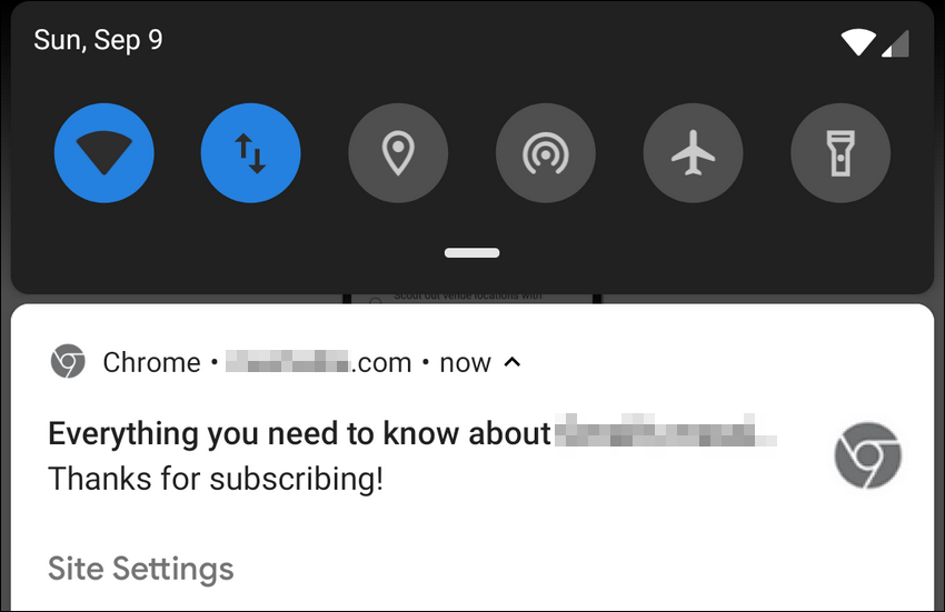 chrome notification Android 9