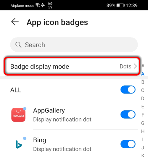 badge display mode EMUI 10.1