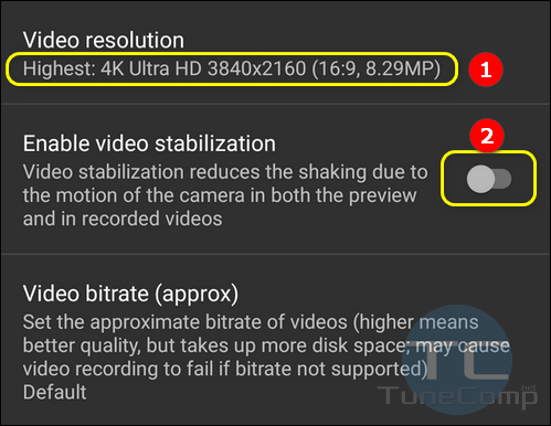 Open Camera Video Resolution and Stabilization