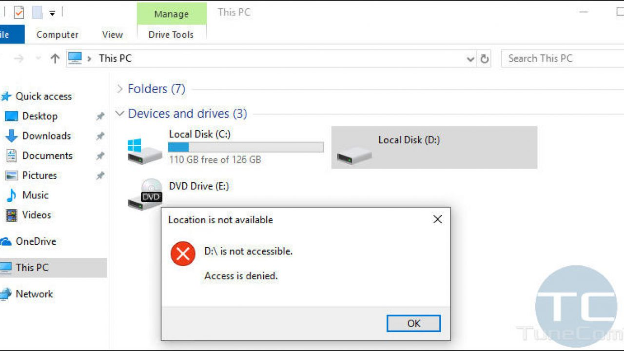 Disk D: is not accessible  Access is denied on Windows 10