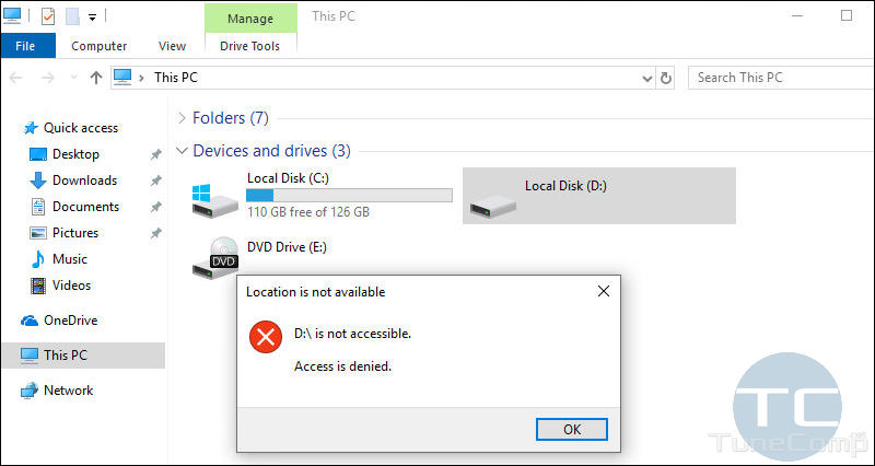 disk drive D is not accessible. Access is denied. Location is not available