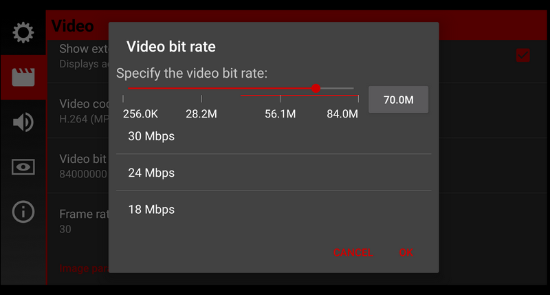 Cinema FV-5 video bitrate