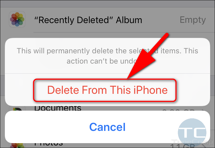 Delete from this iPhone to clear photos