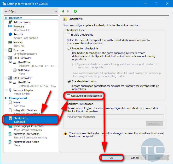 Disable Use Automatic Checkpoints Hyper-V VM