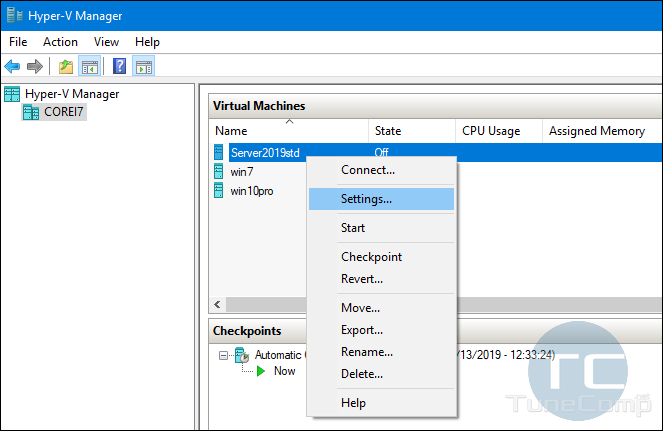 Hyper-V Virtual Machine settings