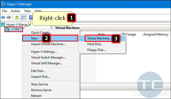 add a new virtual machine Hyper-V Manager