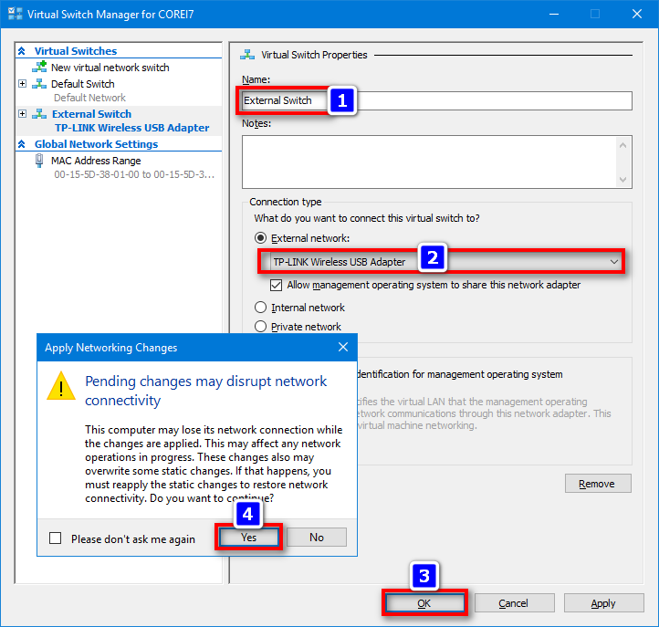 configure new external switch for Hyper-V