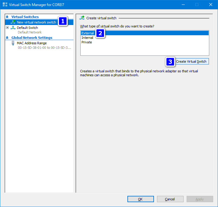 create new virtual external switch Hyper-V