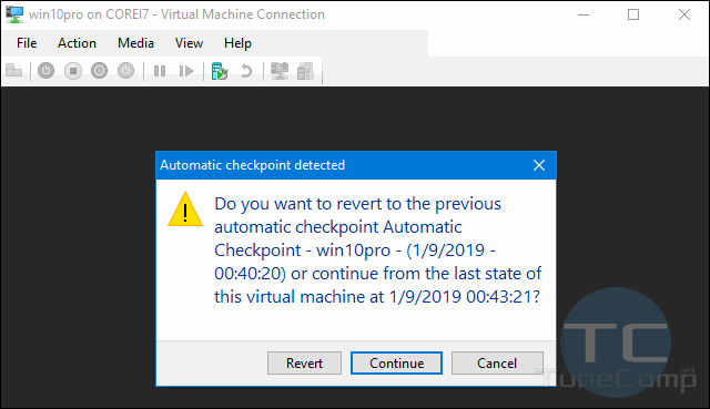 do you want to revert to the previous automatic checkpoint Hyper-V