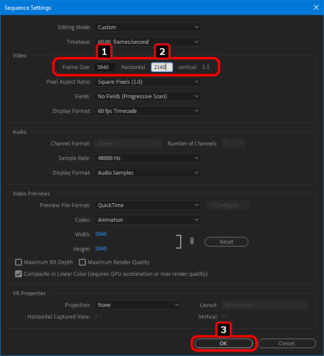 Adobe Premiere the correct frame size