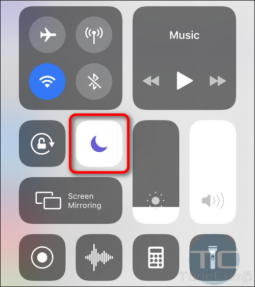 Do Not Disturb Toggle in Control Center iOS 12