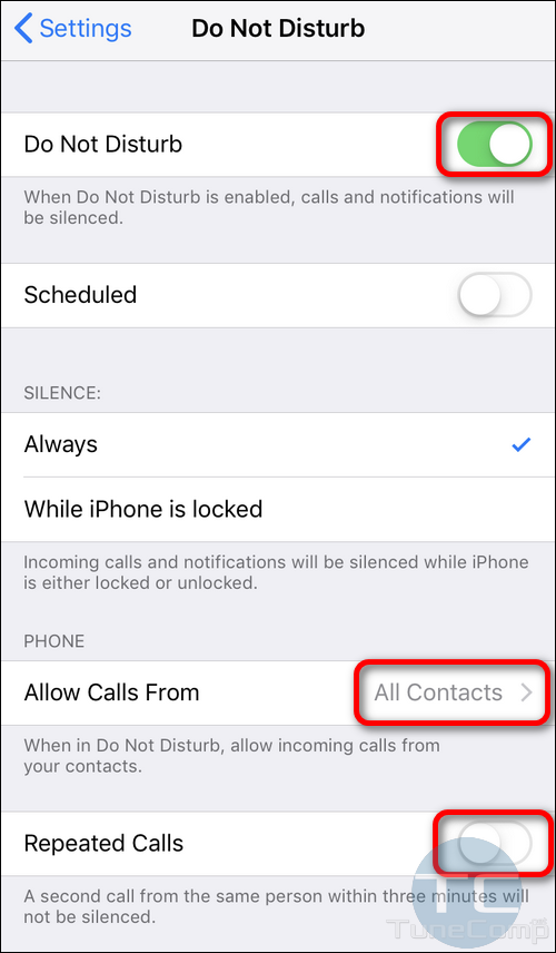 Do Not Disturb iPhone reject all callers except contacts