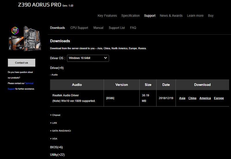 Gigabyte Z390 Aorus Pro drivers