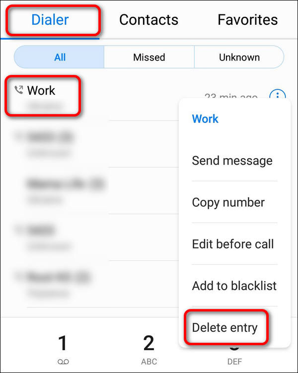 Huawei delete caller from list