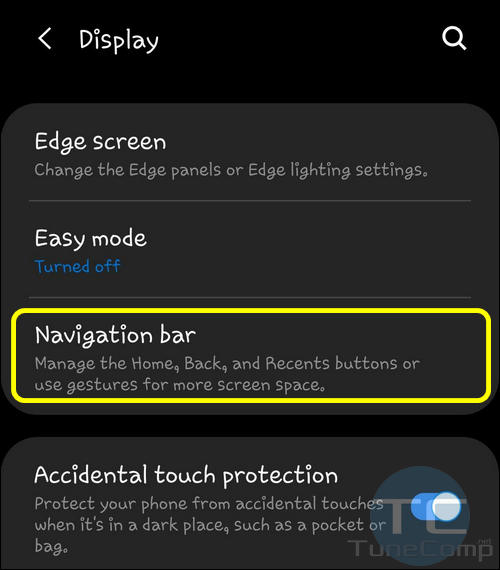 Navigation bar settings S9 Android 9