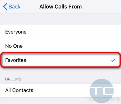 allow calls from favorites iPhone