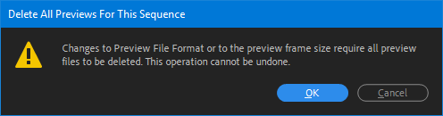 confirm changing frame size Adobe Premiere