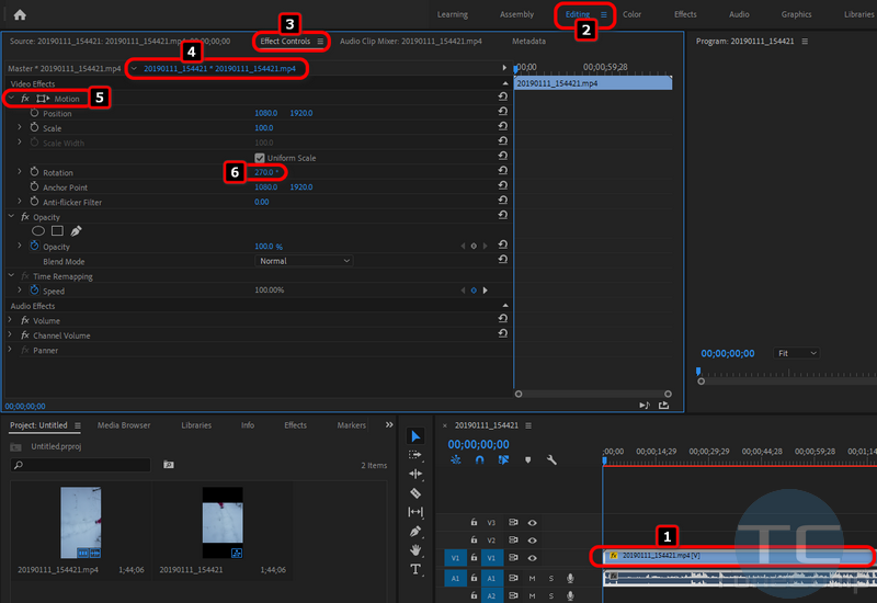 rotate horizontal video in Adobe Premiere