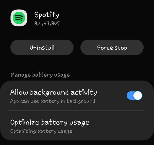 Spotify allow background activity