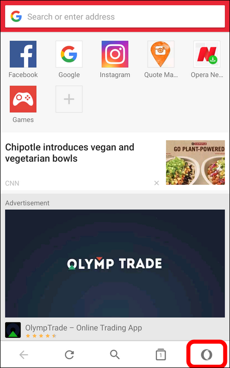 ads on start page Opera mini