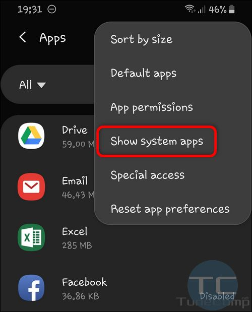 show system apps Galaxy S10