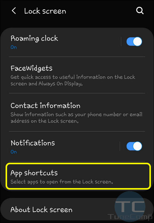 App shortcuts for lock screen One UI