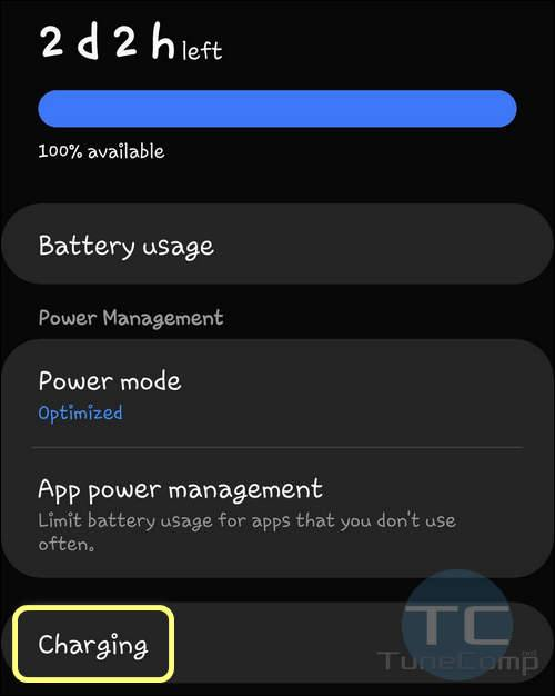 Battery Charging settings One UI 2.0