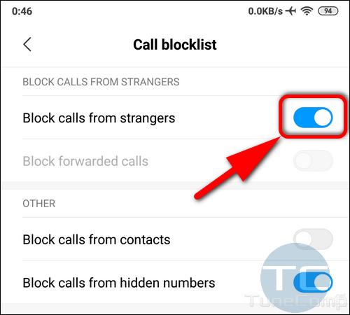 Block calls from strangers Xiaomi