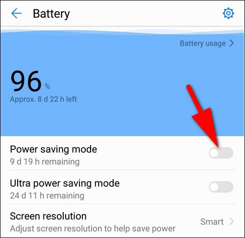 Disable power saving mode Huawei