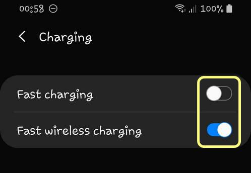 Enable Disable Fast charging and Fast wireless charging One UI 2.0