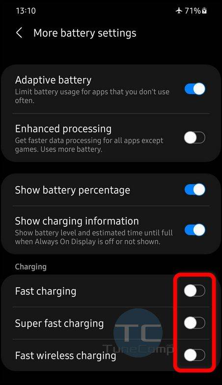 Enable Fast Charging, Super Fast Charging and Fast Wireless Charging
