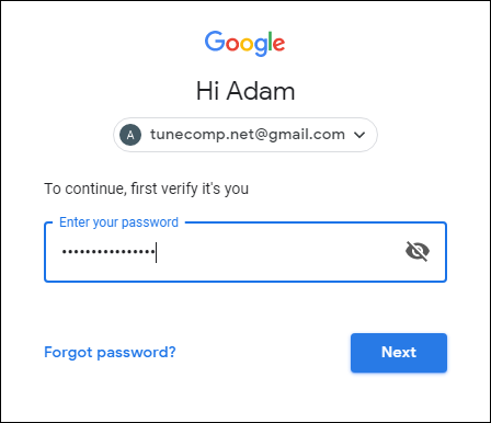 Enter password for your Google Account