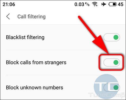 Meizu Block calls from strangers