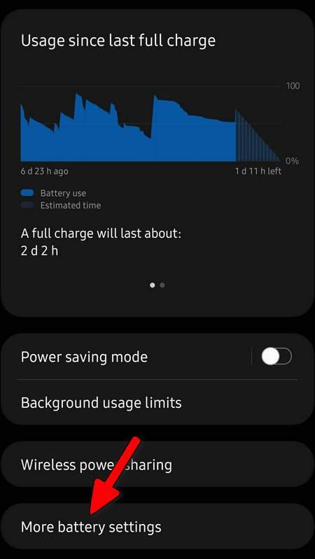 More Battery Settings One UI 3.1 Galaxy S21