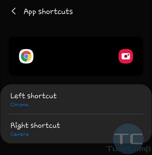 lock screen app shortcut changed