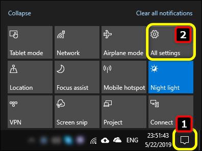 All Settings Windows 10 via Action Center